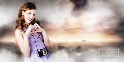 Camera Woman In Love With Taking Landscape Photos  Art Print
