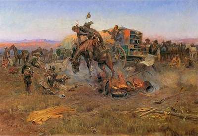 Camp Cook's Troubles Art Print by Charles M Russell