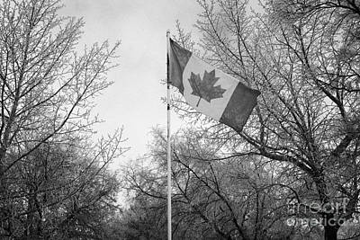 canadian flag flying with frost covered trees Forget Saskatchewan Canada Art Print by Joe Fox