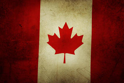 Red Abstract Photograph - Canadian Flag  by Les Cunliffe