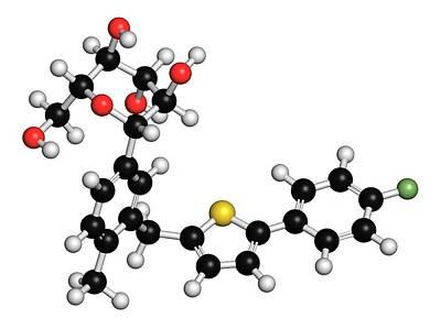 Molecule Photograph - Canagliflozin Diabetes Drug Molecule by Molekuul