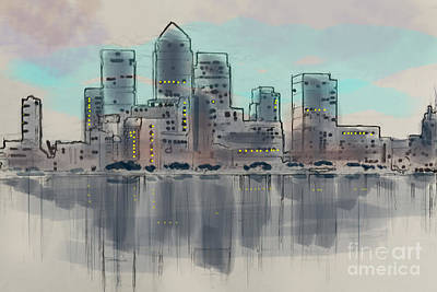 Canary Mixed Media - Canary Wharf London by Roger Lighterness