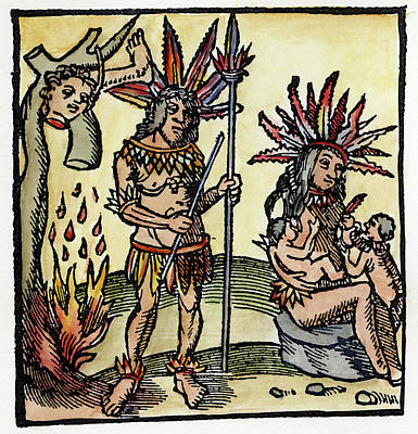 American Indian Children Painting - Cannibals by Granger