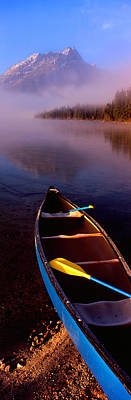 Canoe Photograph - Canoe In Lake In Front Of Mountains by Panoramic Images