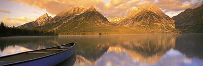 Canoe Photograph - Canoe Leigh Lake Grand Teton National by Panoramic Images