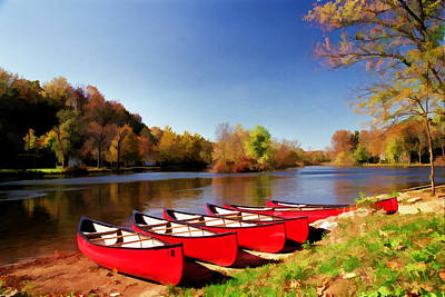 Photograph - Canoes Along The Raritan by Allen Beatty