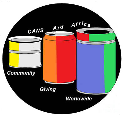 Art Print featuring the digital art Cans Aid Africa Community Giving Worldwide by Mudiama Kammoh