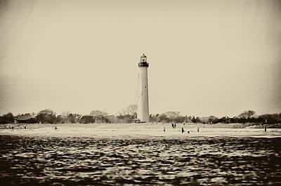 Lighthouse Digital Art - Cape May Lighthouse In Sepia by Bill Cannon
