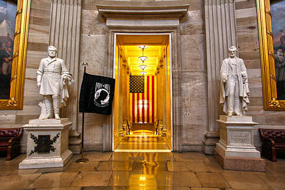 Pow Flag Photograph - Capitol Rotunda by Mitch Cat