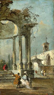 Francesco Guardi Painting - Caprice View With Ruins by Francesco Guardi
