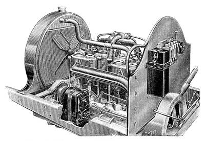 Car Engine And Magneto Art Print by Science Photo Library