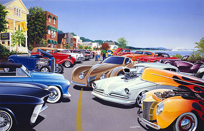 Car Show By The Lake Print by Bruce Kaiser