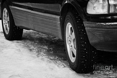 Ice Spikes Photograph - Car With Studded Winter Tyres Parked On Ice In Kirkenes Finnmark Norway Europe by Joe Fox