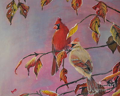 Painting - Cardinals In Falls by Preethi Mathialagan