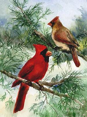 Painting - Cardinals In Winter by Virginia Potter