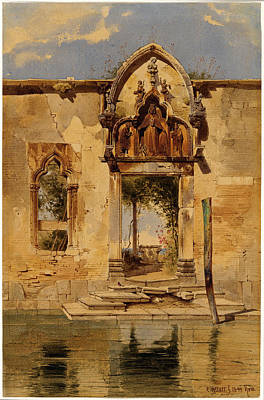 Portal Drawing - Carl Friedrich Heinrich Werner, German 1808-1894 by Litz Collection