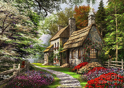 Rural Digital Art - Carnation Cottage by Dominic Davison