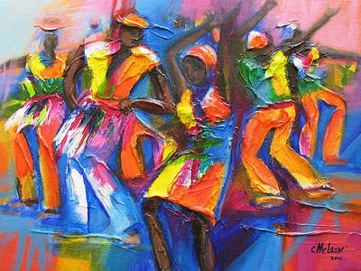 Caribbean Abstract Painting - Carnival Jump Up by Cynthia McLean
