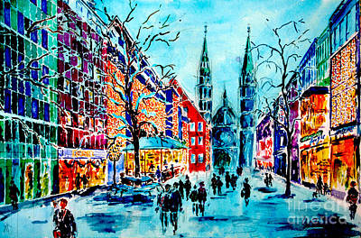 Art Print featuring the painting Carolines Shopping Street by Alfred Motzer