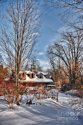 Carriage House In Snow Art Print by HD Connelly