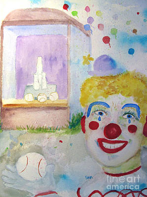 Softball Painting - Carrie The Clown by Sandy McIntire
