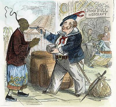 Cartoon Opium War, 1864 Art Print by Granger