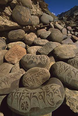 Photograph - Carved Buddhist Mani Stones Zangla by Colin Monteath