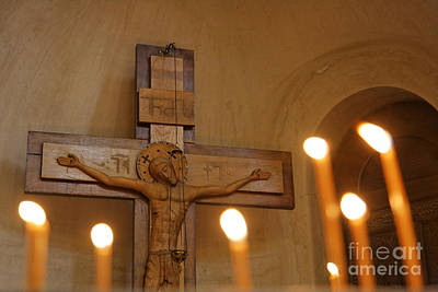Sameba Photograph - Carving Of Jesus Christ On The Cross Inside Tsminda Sameba Cathedral Tbilisi by Robert Preston