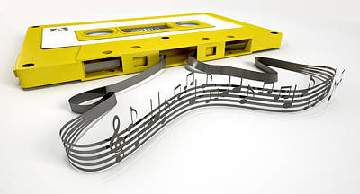 Sound Digital Art - Cassette Tape And Musical Notes Concept by Allan Swart