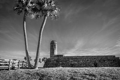 Photograph - Castillo De San Marcos St Augustine Florida Painted Bw  by Rich Franco