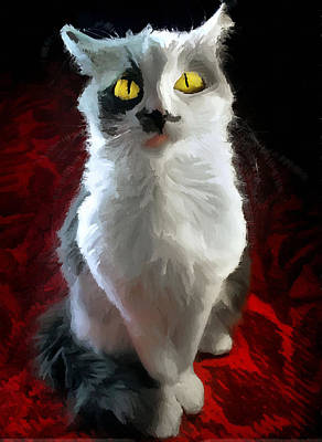Watercolor Pet Portraits Photograph - Cat On Red by Aleksandr Volkov