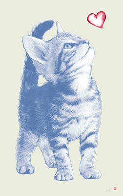 Cat Wall Art - Drawing - Cat With Love Hart Pop Modern Art Etching Poster by Kim Wang