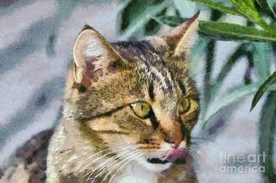 Painting - Cat Portrait by George Atsametakis