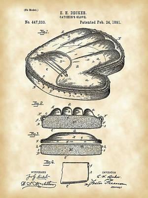 Catcher's Glove Patent 1891 - Vintage Art Print by Stephen Younts