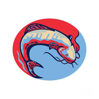 Catfish Digital Art - Catfish Mud Cat Jumping Retro by Aloysius Patrimonio