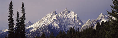 Snow-covered Landscape Photograph - Cathedral Group Grand Teton National by Panoramic Images