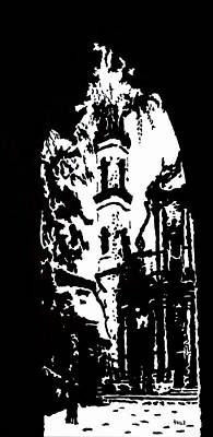 Cityscape Painting - Cathedral In Black And White by Oscar Penalber