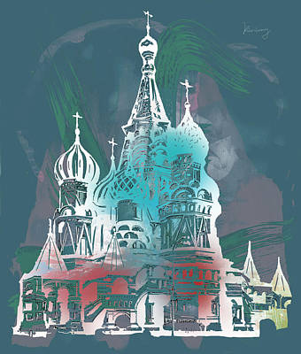 Moscow Drawing - Cathedral Of St Basil  Kremlin Moscow  - Pop Stylised Art Poster  by Kim Wang