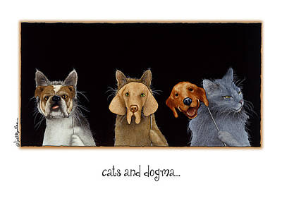 Psychology Painting - Cats And Dogma... by Will Bullas