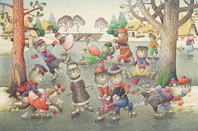 Cat Cartoon Painting - Cats On Skates by Kestutis Kasparavicius