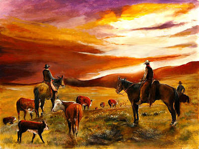 Old West Painting - Cattle Drive by Patrick Rahming