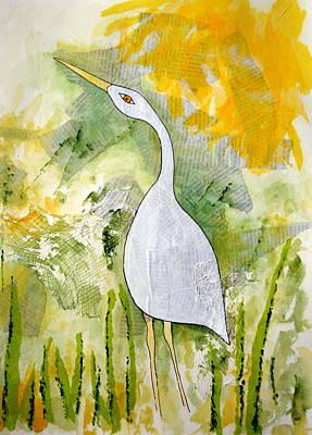 Rosedahl Painting - Cattle Egret by Sarah Rosedahl