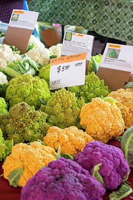 Cauliflower Photograph - Cauliflower Market Stall by Jim West