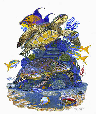Triggerfish Painting - Cayman Turtles by Carey Chen