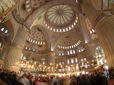 Ceiling Of Sultan Ahmed Mosque Art Print by David H. Wells