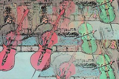 Painting - Cello  Players  Rooftop   by Rick Todaro