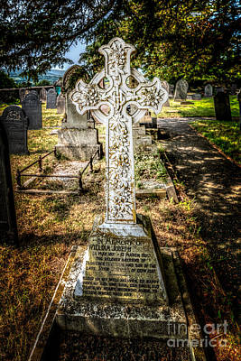 Cemetary Photograph - Celtic Cross by Adrian Evans