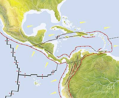 Haitian Photograph - Central America Tectonic Plates, Diagram by Gary Hincks