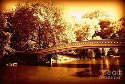 Photograph - Central Park In Gold - Bow Bridge by Miriam Danar