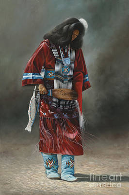 Oro Painting - Ceremonial Red by Ricardo Chavez-Mendez